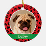 Ornamento personalizado de la foto del mascota del adorno redondo de cerámica