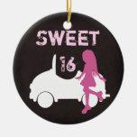 Ornamento personalizado de la silueta del dulce 16 ornatos