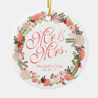 Ornamento personalizado del boda de la acuarela de