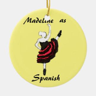 Ornamento personalizado del cascanueces - bailarín adorno navideño redondo de cerámica