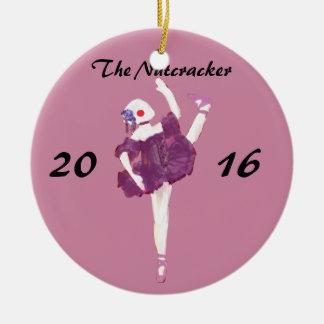 Ornamento personalizado del cascanueces - muñeca adorno navideño redondo de cerámica