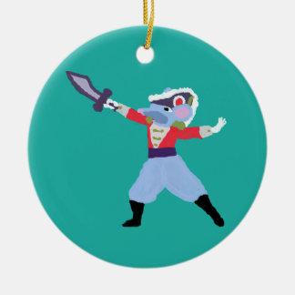 Ornamento personalizado del cascanueces - rey de adorno navideño redondo de cerámica