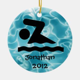 Ornamento personalizado del diseño de la nadada
