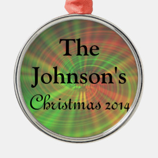 Ornamento personalizado del navidad 2014 adorno navideño redondo de metal