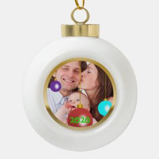Ornamento personalizado del navidad de la foto adorno de cerámica en forma de bola