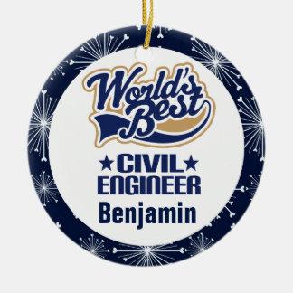 Ornamento personalizado del regalo del ingeniero adorno redondo de cerámica