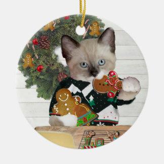 Ornamento personalizado gatito de la galleta del