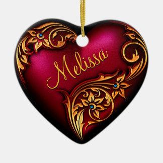 Ornamento personalizado oro rojo de la voluta del adorno navideño de cerámica en forma de corazón