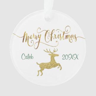 Ornamento personalizado reno del navidad del oro