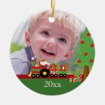 Ornamento personalizado tren de la foto del adornos de navidad