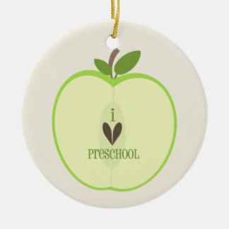 Ornamento preescolar del profesor - Apple verde Adorno Redondo De Cerámica