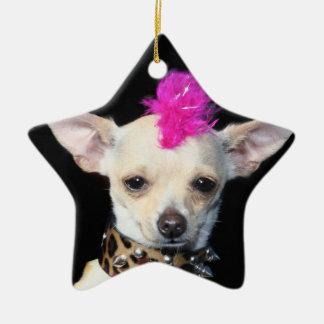 Ornamento punky de la estrella de la chihuahua adorno navideño de cerámica en forma de estrella