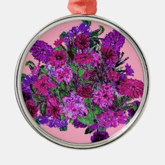 Ornamento púrpura bonito suave femenino de las adorno redondo plateado