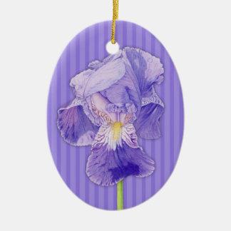 Ornamento púrpura de la púrpura del iris adorno navideño ovalado de cerámica