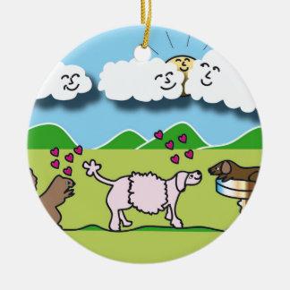 Ornamento redondo con los animales lindos adorno navideño redondo de cerámica