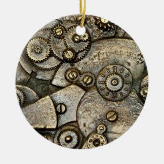 Ornamento redondo del mecanismo de engranaje del adorno navideño redondo de cerámica