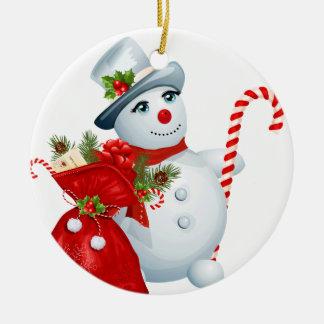 Ornamento redondo del muñeco de nieve del navidad