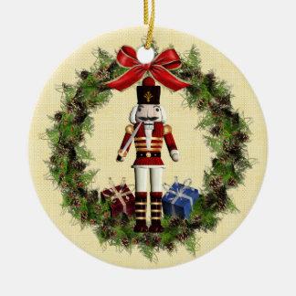 Ornamento redondo del navidad de la guirnalda roja adorno navideño redondo de cerámica