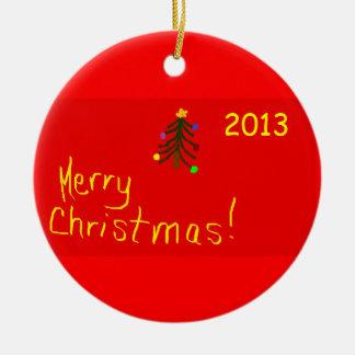 Ornamento redondo del navidad de las Felices Adorno Navideño Redondo De Cerámica