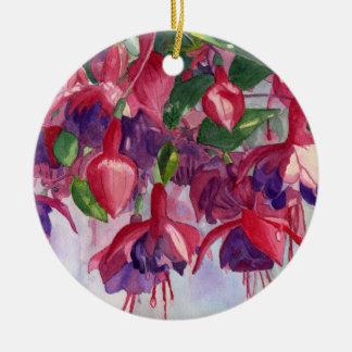 Ornamento redondo del saber fucsia adorno navideño redondo de cerámica