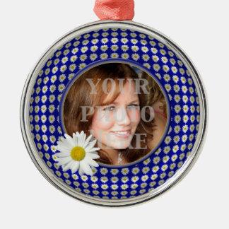 Ornamento redondo superior de la foto de la cadena adorno redondo plateado