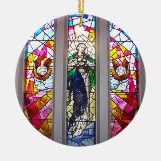 Ornamento religioso de encargo adorno navideño redondo de cerámica