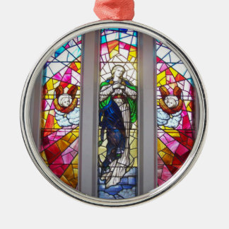Ornamento religioso de encargo adorno navideño redondo de metal