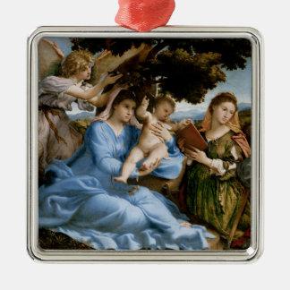 Ornamento religioso del arte adorno navideño cuadrado de metal