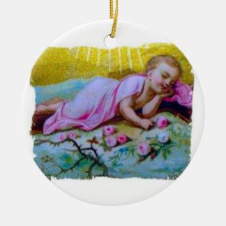 Ornamento religioso del navidad de Jesús del bebé Adorno Navideño Redondo De Cerámica