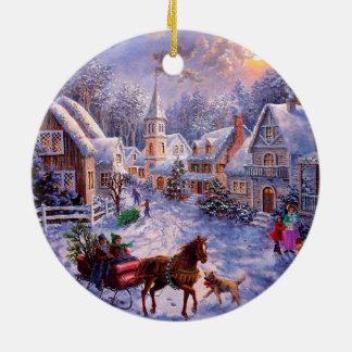 Ornamento religioso del navidad de la natividad adorno navideño redondo de cerámica