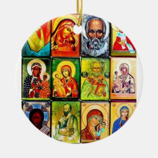 Ornamento religioso del tema cristiano adorno navideño redondo de cerámica