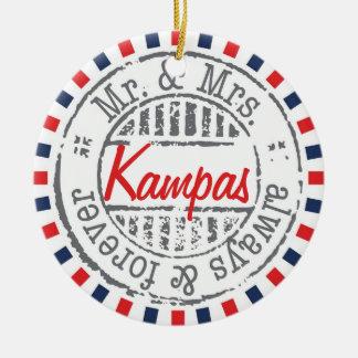 Ornamento rojo de la colección del servicio postal adorno navideño redondo de cerámica