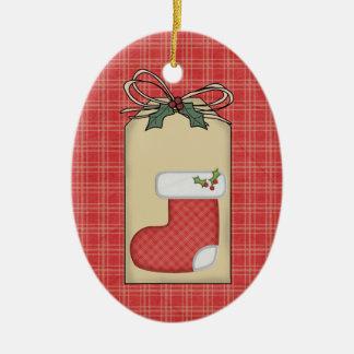 Ornamento rojo de la etiqueta del regalo de la tel adornos de navidad