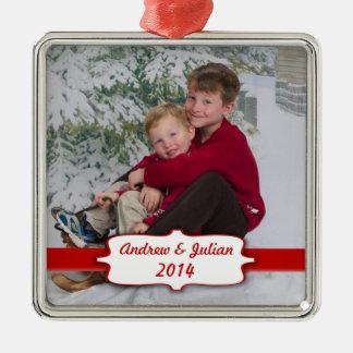 Ornamento rojo de la foto de la bandera adorno navideño cuadrado de metal