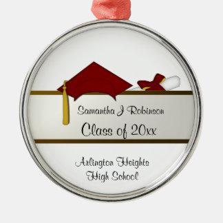 Ornamento rojo de la graduación del casquillo adornos