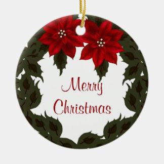 Ornamento rojo de la guirnalda del navidad del adorno redondo de cerámica