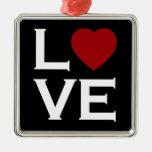 Ornamento rojo del amor del corazón ornamentos de navidad