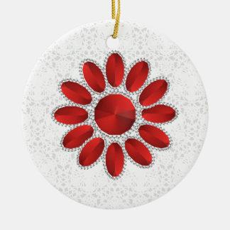 Ornamento rojo del círculo de la flor de Navidad