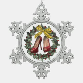 Ornamento rojo del copo de nieve del estaño del za adornos