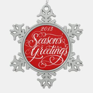 Ornamento rojo del navidad de los saludos adorno de peltre en forma de copo de nieve