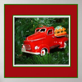 Ornamento rojo del navidad del camión (4) póster