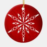 Ornamento rojo del navidad del copo de nieve ornamento para reyes magos