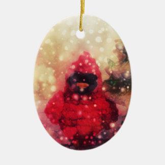 Ornamento rojo del navidad del pájaro
