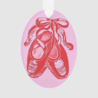 Ornamento rojo del óvalo del rosa de los zapatos