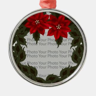 Ornamento rojo del premio del marco de la foto de adorno redondo plateado