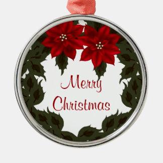 Ornamento rojo del premio del navidad de la adorno redondo plateado