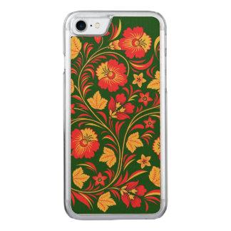 Ornamento rojo y amarillo de las flores funda para iPhone 7 de carved