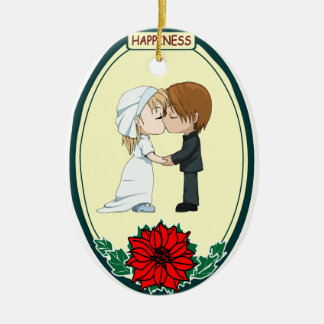 Ornamento romántico - besar pares adorno navideño ovalado de cerámica