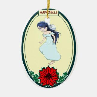 Ornamento romántico - novia linda adorno navideño ovalado de cerámica