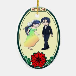 Ornamento romántico - novia y novio del rainbo adorno navideño ovalado de cerámica